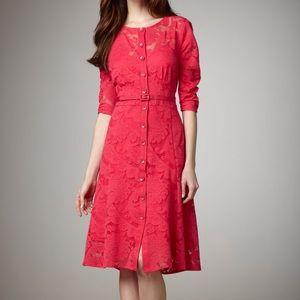 Nanette Lepore Pink belted lace cocktail dress sz4